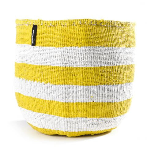 Basket - Adia (White/Yellow thick Stripe-no handles) | Gaya Alegria