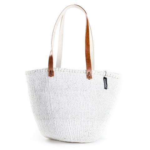 Basket - Ella (White & Long Leather Handles)
