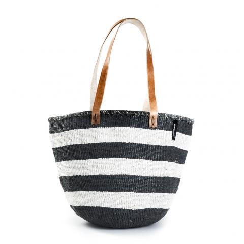 Basket - Ella (Thick Stripe Black & White & Long Leather Handles) | Gaya Alegria