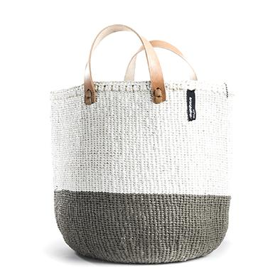 NEW! - Basket - Sarah (LIGHT Grey/White & Leather Handles) | Gaya Alegria