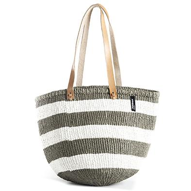 Mono Basket - Ella (Thick Stripe Light Grey & White & Long Leather Handles) | Gaya Alegria