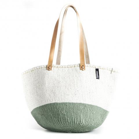 Basket - Ella (50/50 Light Green / White & Long Leather Handles) | Gaya Alegria
