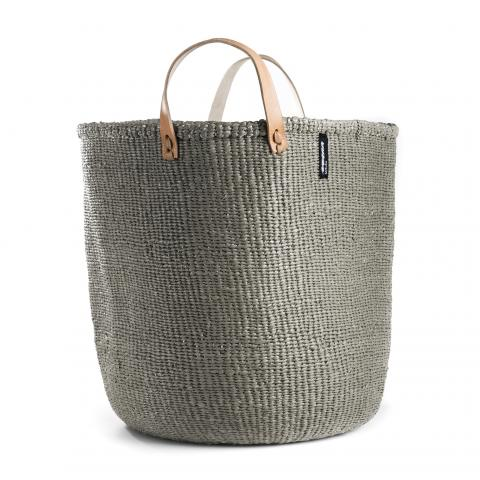 Mono Basket - Uma (LIGHT Grey & Leather Handles) | Gaya Alegria