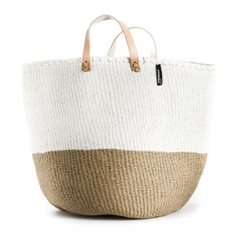 Mono Basket - Sarah (Brown/White & Leather Handles) | Gaya Alegria