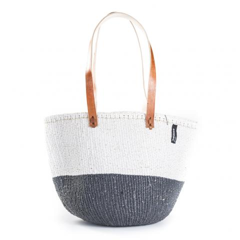 Basket - Ella (50/50 Grey / White & Long Leather Handles) | Gaya Alegria