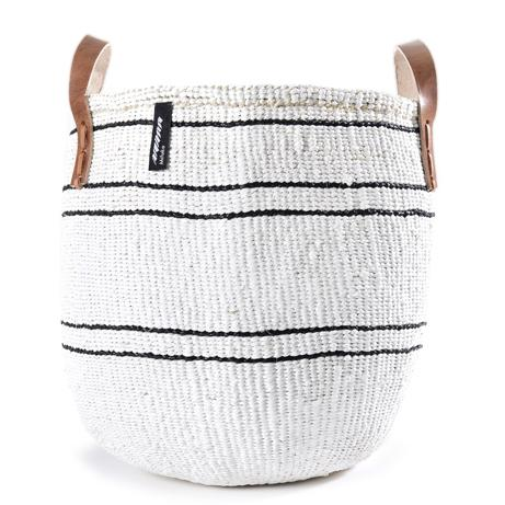 Basket - Barika (Black on White-5 stripes & Leather Handles)