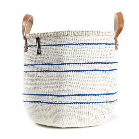 Basket - Barika (Navy Blue on White-5 stripes & Leather Handles) | Gaya Alegria