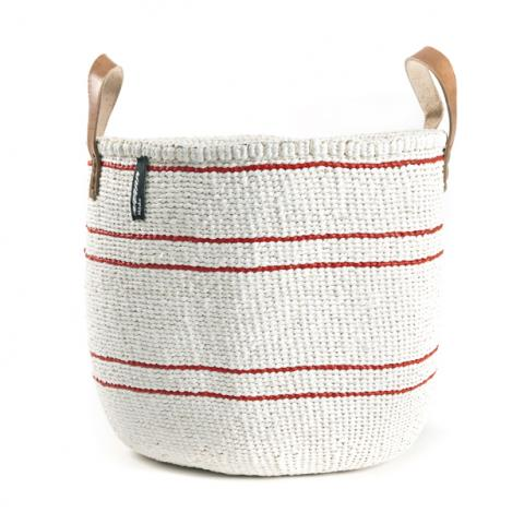Basket - Barika (Red on White-5 stripes & Leather Handles) | Gaya Alegria