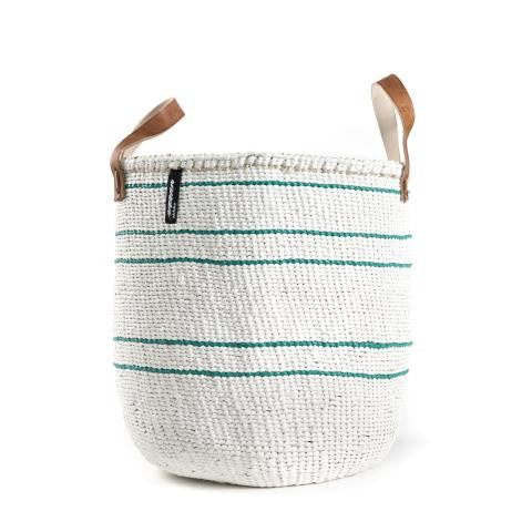 Basket - Barika (Green on White -5 stripes & Leather Handles)