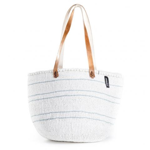 Basket - Ella (Light Blue/White 5 stripes & Long Leather Handles) | Gaya Alegria