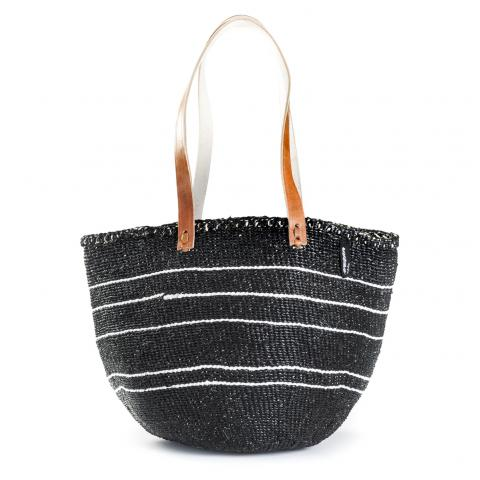 Basket - Ella (White/Black 5 stripes & Long Leather Handles)