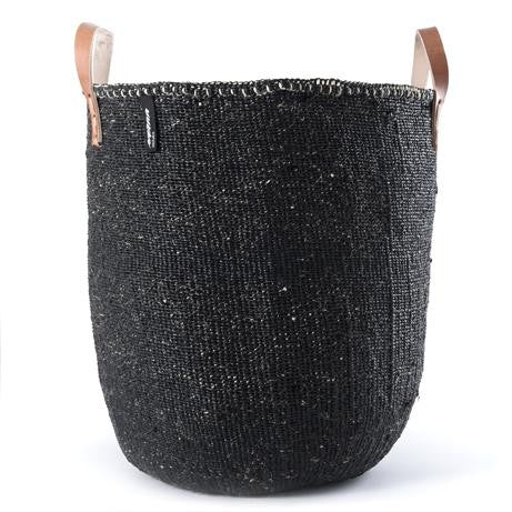 Basket - Uma (L) - Black & Leather Handles | Gaya Alegria