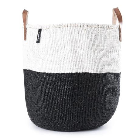 Basket - Sarah (White/Black & Leather Handles)