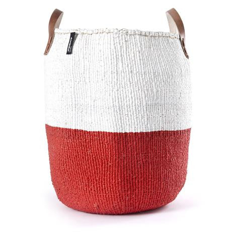 Basket - Sarah (White/Red & Leather Handles)