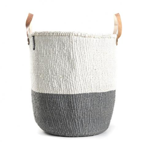 Basket - Sarah (White/Grey & Leather Handles)