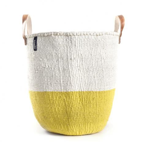 Basket - Sarah (Yellow/white & Leather Handles)