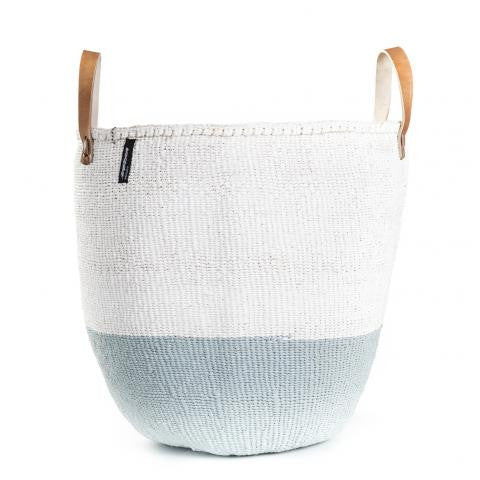 Basket - Sarah (White/Light Blue & Leather Handles)