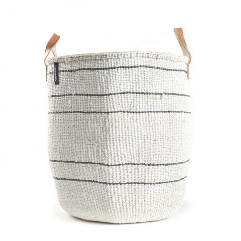 Basket - Barika (Grey on White-5 stripes & Leather Handles)