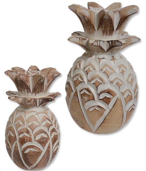 Wooden Pineapple decoration (Natural) - small & large | Gaya Alegria