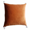 Cushion Cover - Baldu Rusty Orange / white tassels