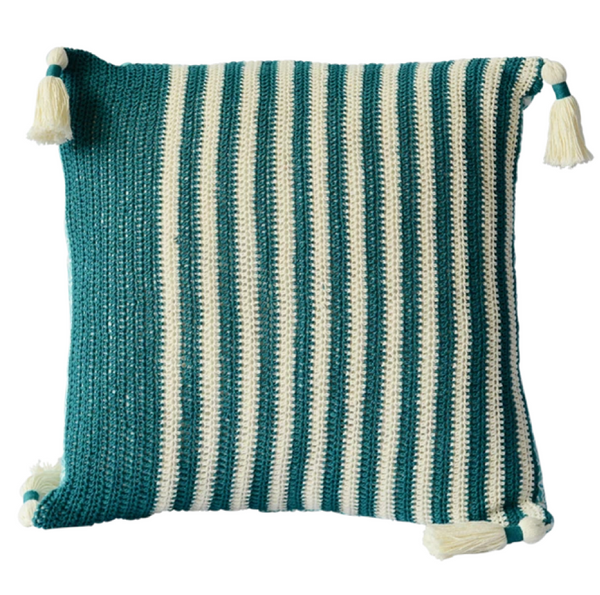 Cushion Cover - Crochet teal wide (M/45x45cm) | Gaya Alegria