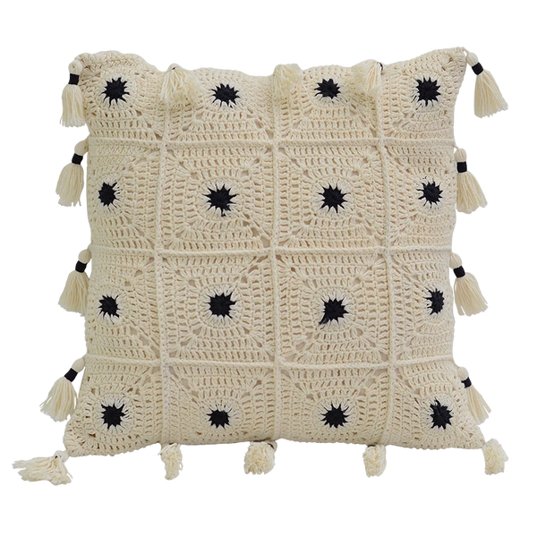 Cushion Cover - Crochet black white Dots (S/35X35cm) | Gaya Alegria