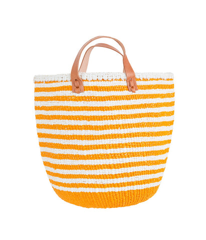 Basket - Nora (Orange/White thin stripe & Leather Handles) | Gaya Alegria