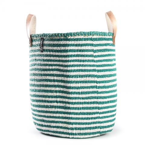 Basket - Nora (Green/White thin stripe & Leather Handles) | Gaya Alegria