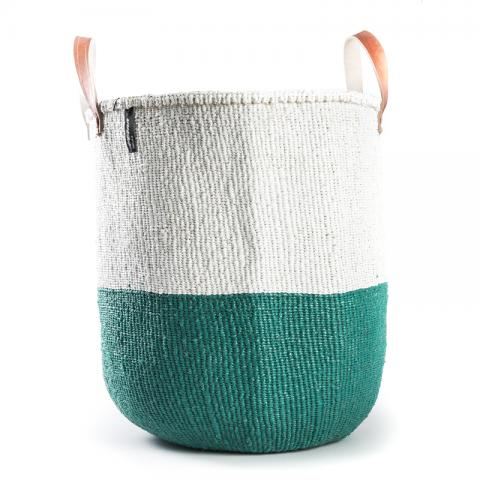 Basket - Sarah (Green/white & Leather Handles)