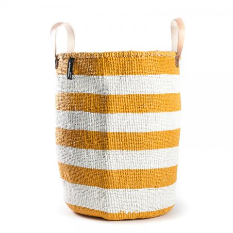 Basket - Adia (White/Orange thick Stripe & Leather Handles) | Gaya Alegria