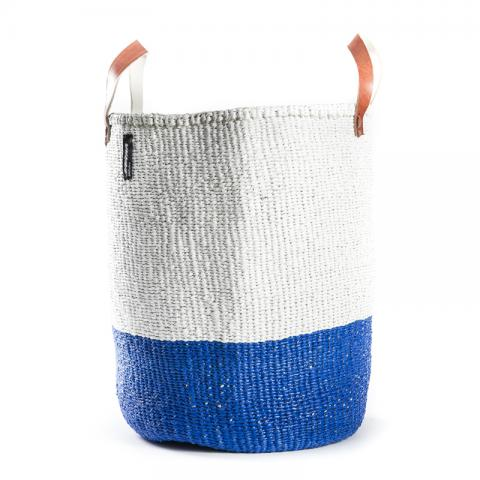 Basket - Sarah (Blue/white & Leather Handles)
