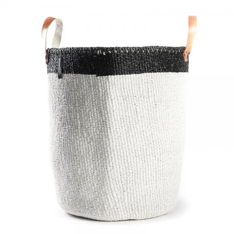 Basket - Eva (Black/white & Leather Handles)