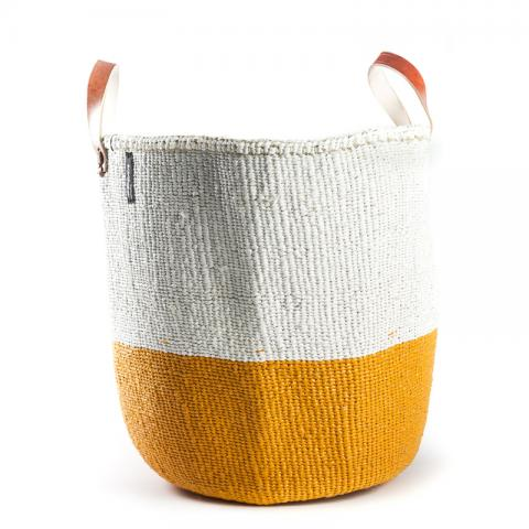 Basket - Sarah (Orange/White & Leather Handles) | Gaya Alegria