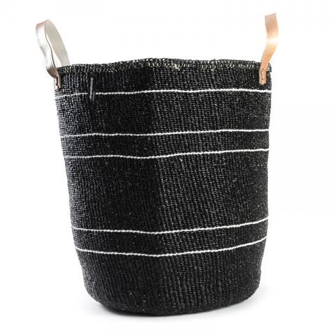 Basket - Barika (White on Black-5 stripes & Leather Handles) | Gaya Alegria