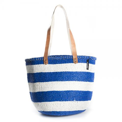 Basket - Ella (Thick stripe N.Blue/White & Long Leather Handles) | Gaya Alegria