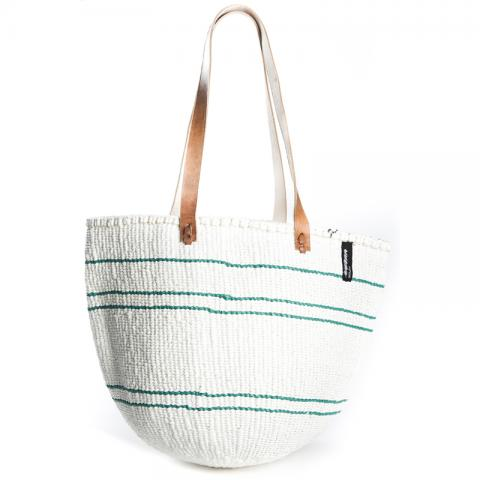 Basket - Ella (Green/White 5 stripes & Long Leather Handles)