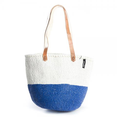 Basket - Ella (50/50 N.Blue/White & Long Leather Handles) | Gaya Alegria