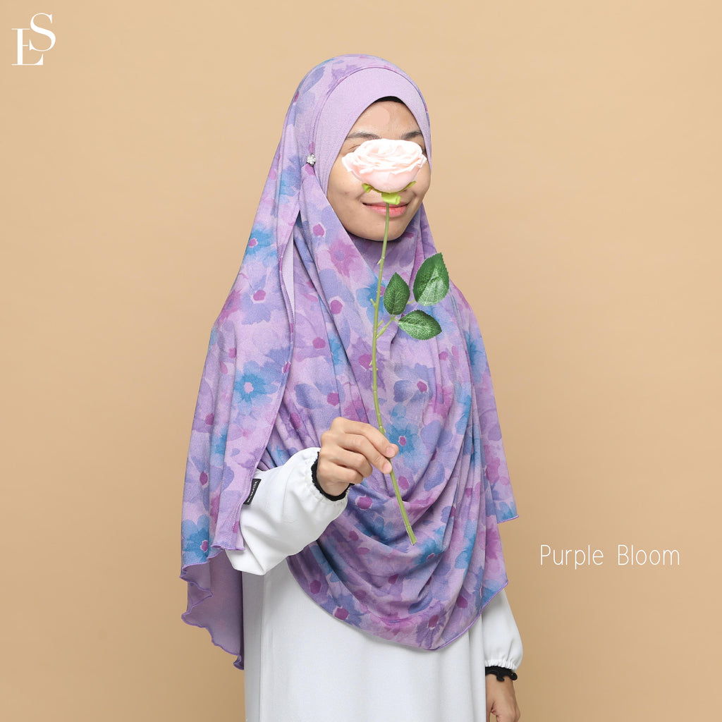 INSTANT SHAWL AYRA PRINTED - Purple Bloom