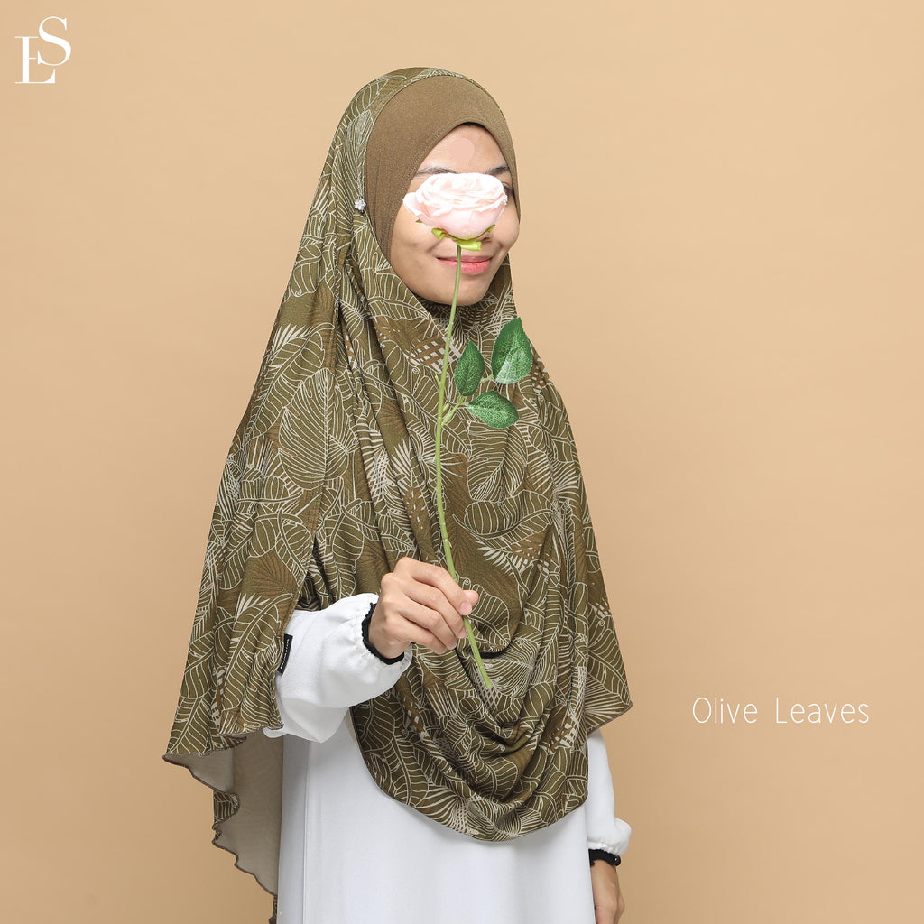 INSTANT SHAWL AYRA PRINTED - Olive Leaves