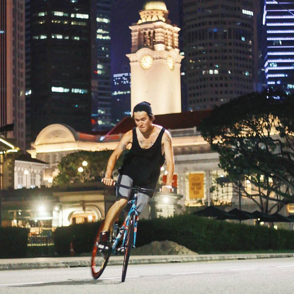 Skidding it out in front of Singapore's Victoria Theatre & Concert Hall