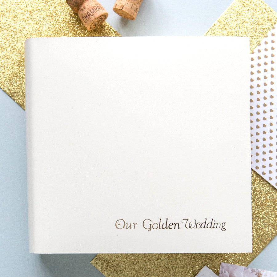Personalised Golden Wedding Leather Photo Album