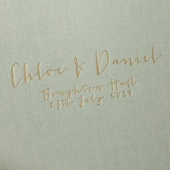 Traditionally Bound Linen Guest Book: Calligraphy Font