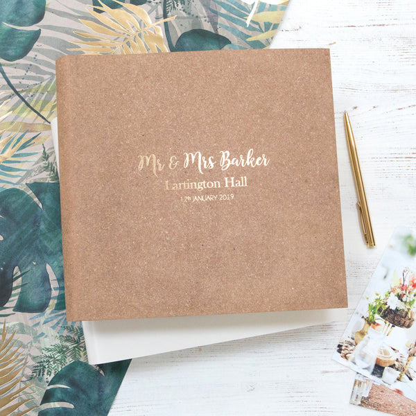 brown botanical wedding album by begolden