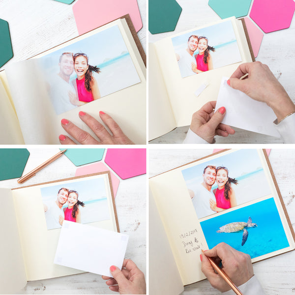 instructions for placing photos in begolden album