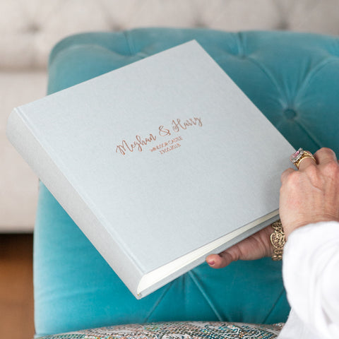Large Linen Wedding Guest Book with Fanciful Font