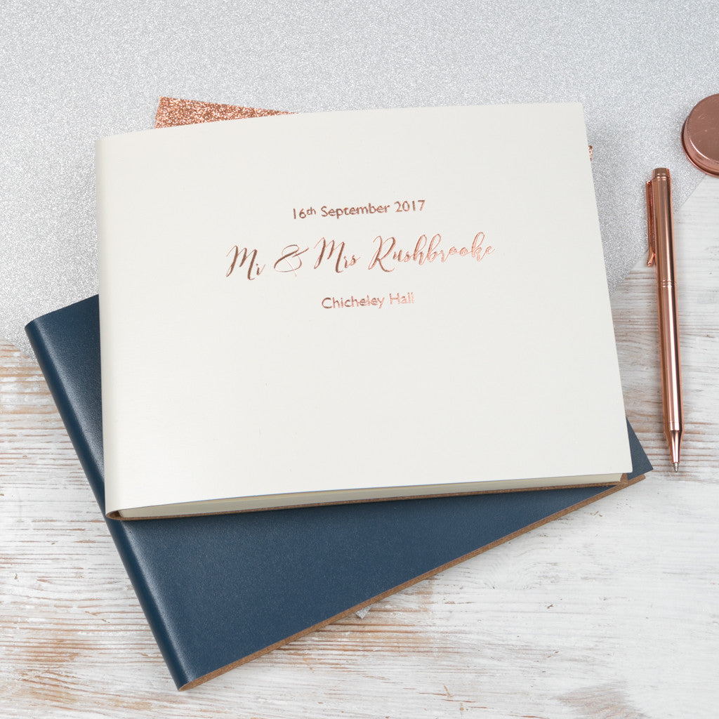 Guest Book Wedding.Personalised Leather Bound Wedding Guest Book Begolden