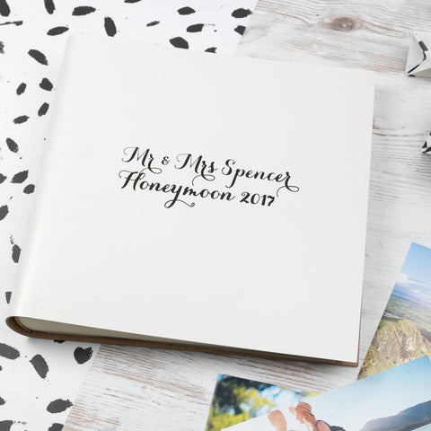 Modern Calligraphy Leather Honeymoon Album