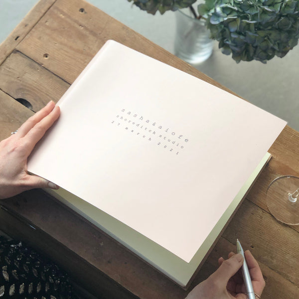Landscape Leather Guest Book Personalised with a Contemporary Font