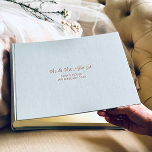Large Landscape Linen Wedding Guest Book with Fanciful Font