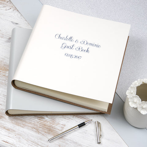 Personalised Large Leather Guest Book - Romantic Font